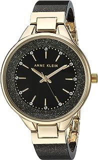 Anne Klein 女士AK / 1408BKBK镶施华洛世奇水晶树脂手镯手表