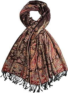 Sundara 围巾,羊绒佩斯利传统提花披肩 - 尼泊尔手工制作