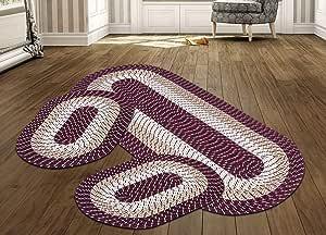 表面 - * 聚丙烯编织管状地毯套装 *红色条纹 2'x6' + 2 Mats