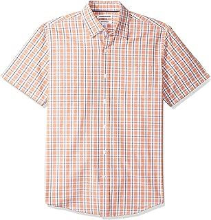 Amazon Essentials 男士衬衫,短袖,常规款型,方格,由府绸制成