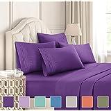CGK Unlimited 加大双人床床单套装 - 白色床单 - 床单 床套 4 个枕套 - 超深口袋 - 超细纤维 - 比埃及棉更柔软 - 酒店奢华 紫色 King COMINHKG109892