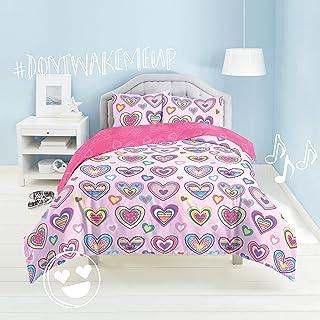 Dream FACTORY Hearts 柔软纯棉被套套装,带枕套,紫色 紫色 Full/Queen 2D8709C3PP