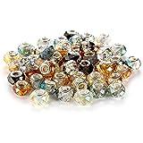 BRCbeads 高品质 10 件混合银色板穆拉诺灯饰欧洲玻璃水晶魅力珠子垫圈适合潘多拉手查米拉卡洛Biagi Zable 蛇形链魅力手链。 多面玻璃 AB 混合颜色 #2 50pcs 43216-103131