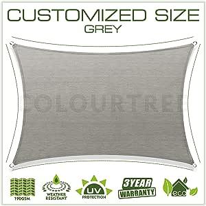 ColourTree 16 x 20 定制尺寸定制遮阳帆遮阳篷防紫外线矩形 TAPR1620 - 商业标准重型 - 3 年保修 16' x 20' 灰色