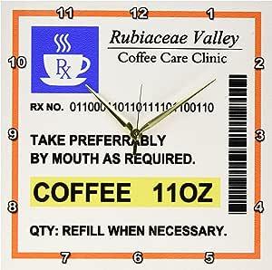 "3dRose Funny Coffee Prescription Humorous Prescribed Caffeine Joke Medicine Wall Clock, 13 by 13"""