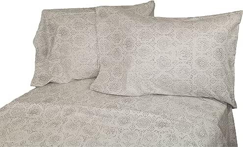 La Rochelle Heathered Abstract 法兰绒床单套件,加州大号双人床,蓝色 灰色 Queen 10755