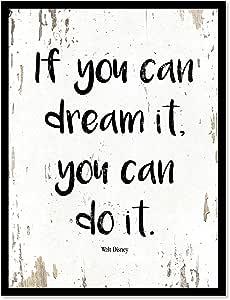 IF YOU CAN 梦 IT YOU CAN DO IT walt Disney 名言谚语帆布印刷带画框家居装饰墙壁艺术礼品创意