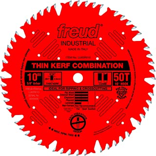 Freud LU83R010 10-Inch 50 Tooth ATB Thin Kerf Combination Saw Blade with 5/8-Inch Arbor and PermaShield Coating