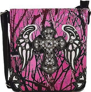 迷彩水钻西部斜挎包手提包隐藏携带钱包乡村女士单肩包 十字粉色 单一尺寸