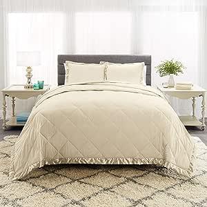 Empyrean 床上用品缎面装饰绗缝超细纤维棉被套装,带枕套 奶油色米色 Queen Oversize EB-Slkcmfrtr-Shm-QO-Crm