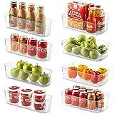 8 个冰箱收纳盒 - 4 个大容量和 4 个小型可堆叠冰箱收纳盒,适用于冰柜、厨房、台面、橱柜 - 透明塑料食品保鲜架