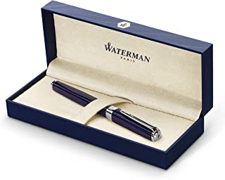 Waterman 威迪文 Exceptional 钢笔,修身蓝色,镀银夹,精美笔尖和蓝色墨盒,礼品盒