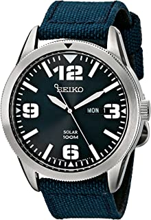 SEIKO 男式蓝色表盘蓝色尼龙表带太阳能手表