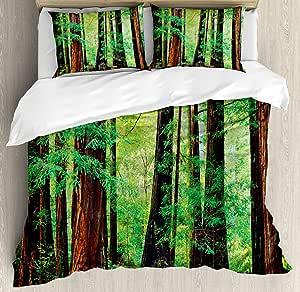 林地装饰羽绒被套套件 ambesonne ,红木 Trees Northwest 雨林 tropic scenic 野生自然 LUSH Branch ,装饰床上用品套装带枕套