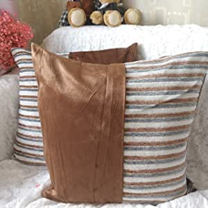"myfeel 抱枕套,柔软天鹅绒方形装饰抱枕套 适用于沙发卧室汽车靠垫套 18 x 18 英寸 45 x 45 厘米 Tr-04 18""*18"""