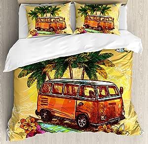 ambesonne 香蕉叶羽绒被套组,手绘风格植物图案热带 foliage 绿色和蓝色,装饰床上用品套装带枕套,翡翠绿浅蓝色