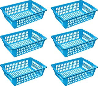YBM HOME 小型塑料篮纸整理盒和信件托盘,可放置文件、A4纸和信件、家庭和办公室储物箱 蓝色 32-1194-6blue