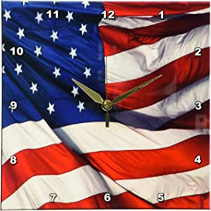 3dRose dpp_12182_1 美国国旗挂钟,25.4 x 25.4 厘米
