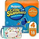 Huggies 好奇 Little Swimmers 一次性婴儿游泳纸尿裤 4号中型(24-34磅,约10.89-15.42公斤)18片 附好奇'N' 清洁湿巾组合包 (包装可能有所不同)