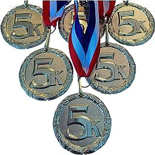 Express Medals 金色 5K 赛跑*章*杯带颈带(6 件装)