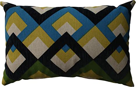 Pillow Perfect 重叠 Geo 长方形抱枕 Blue|green|yellow 512556