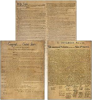 American Founding 文件层压 3 件装:美国可持续发展独立宣言和权利宣言复制品 Young N Refined