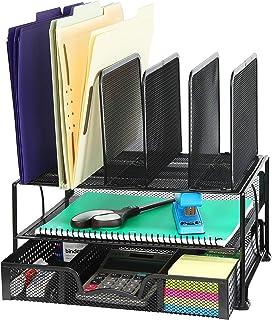带滑动抽屉的桌面收纳盒,双托盘和 5 个部分 黑色