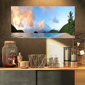 "Designart ""带云的海滩日落""景观照片帆布印刷品,15.24 x 71.12 cm"