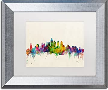 Trademark Fine Art Philadelphia PA 由 Michael Tompsett 银色边框 白色哑光 11x14-Inch MT0379-S1114MF