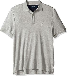 Nautica 男士经典柔软棉质纯色短袖Polo衫,麻灰,3XLT Tall
