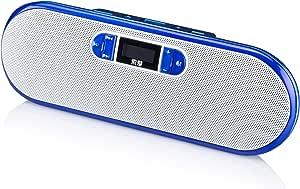 Soaiy 索爱 S-218 便携数码音响 (宝石蓝色) 支持TF卡/U盘直接播放、MP3/WMA双音频格式,大功率双核功放芯片,双声道环绕立体声,多功能中文显示屏,酷炫超薄机身