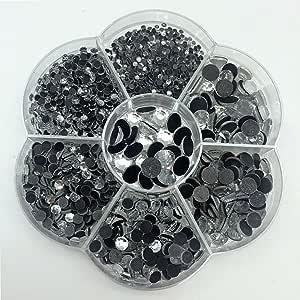 PEPPERLONELY 盒 混合颜色 热修复 圆形 平背 刻面玻璃水晶 莱茵石 3#. Clear mix size