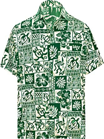LA LEELA 男式夏威夷衬衫短袖系扣休闲沙滩派对