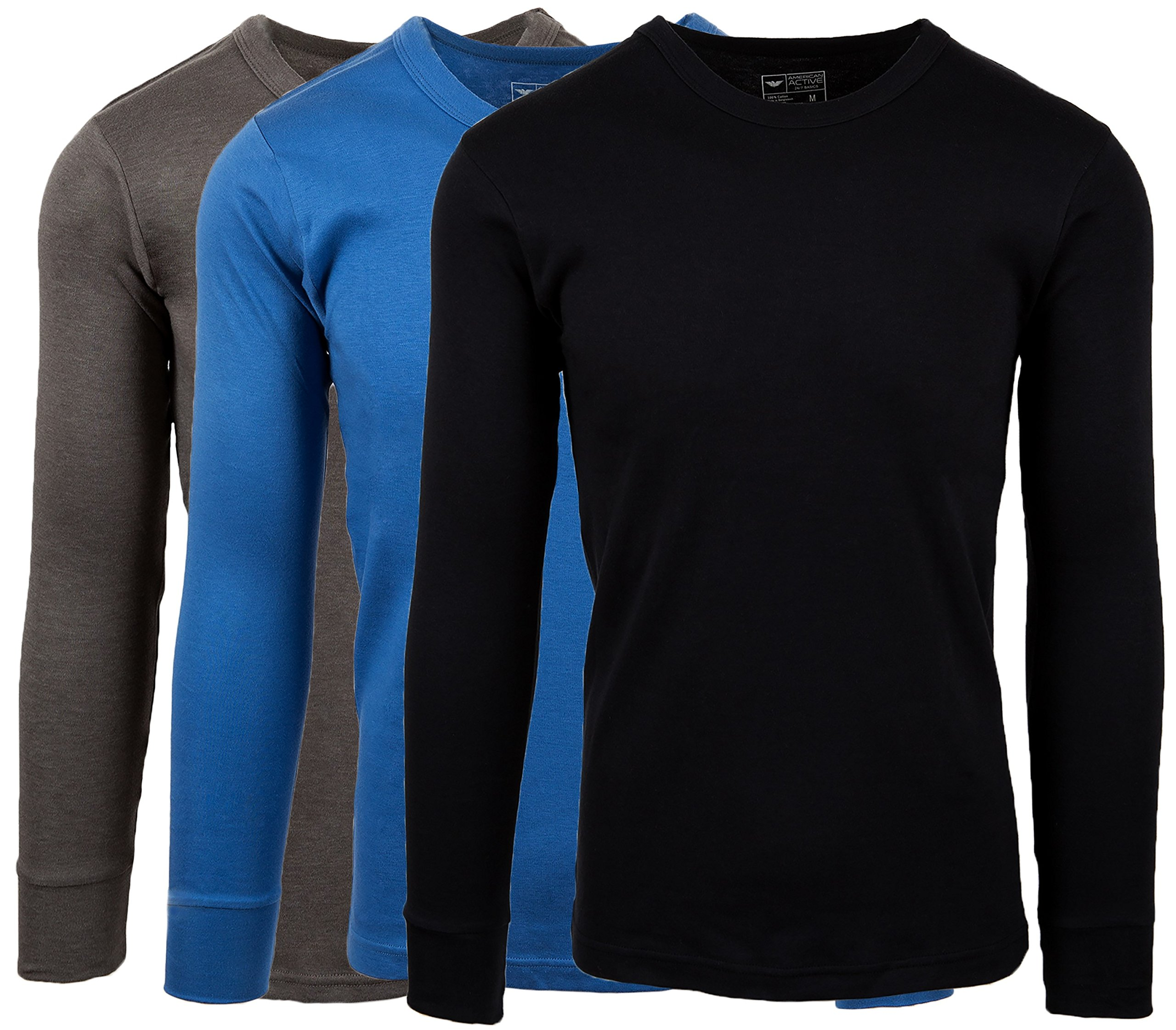 AMERICAN ACTIVE *男性の綿ウール裏地バッキング長袖Tシャツ暖かいの三組