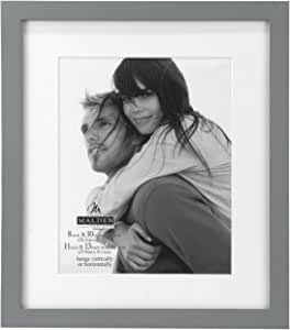 Malden Matted Wood Picture Frame, 8 by 10-Inch, Linear Gray