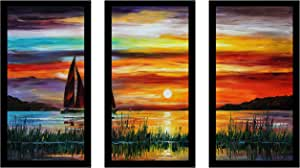 "Picture Perfect International 704-1909-1224 Leonid Afremov ""Florida-Lake Okeechobee"" Framed Plexiglass Wall Art, Set of 3, 13.5"" W x 25.5"" H x 1"" D"
