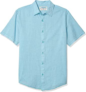 margaritaville 男式短袖迷你条纹衬衫 水鸭色 X-Large