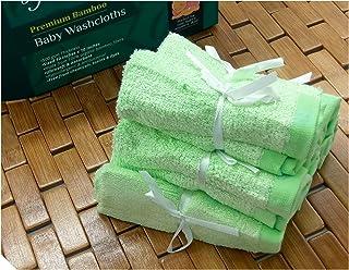 byLora 柔软有机*,低*性婴儿竹浴巾 绿色 Washcloth - Qty 6