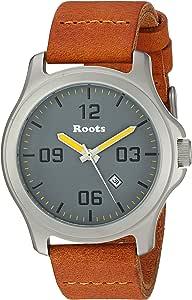 "Roots 男士""核心""石英不锈钢皮革休闲手表,颜色:黑色(型号:1R-LF400GY2DB)"
