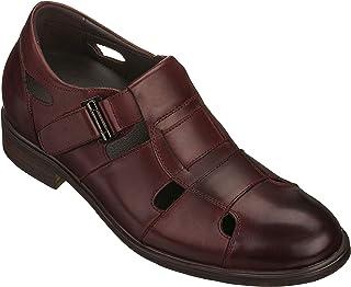 CALTO 男式隐形增高坡跟鞋 - 高级皮革考究渔夫凉鞋 - 2.8英寸(约7.9厘米)高