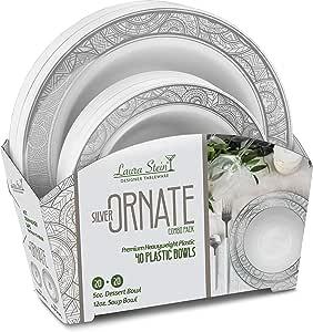 Laura Stein 派对碗 40 件套优雅一次性餐具组合套装包括 59.7 g 甜点碗 + 540.2 毫升汤碗,适合生日、婚礼、活动假日使用 白色和银色 40 Piece Set (20 Sets) ORT-BC512S