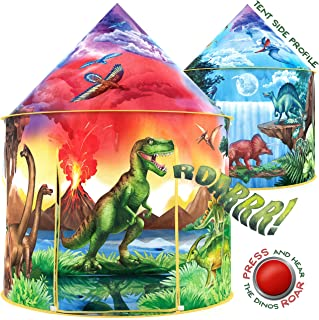 W&O 恐龙发现儿童帐篷,带咆哮纽扣,儿童非凡弹出式帐篷,女孩和男孩的恐龙玩具,一个儿童互动游戏帐篷,儿童户外和室内帐篷
