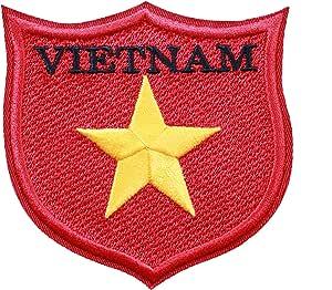 """世界国旗刺绣补丁保护全球 100 多个国旗! 欧洲、亚洲、美国、非洲。 熨烫或缝制。 * 美国制造 Vietnam 3.3"""" WF0101"""