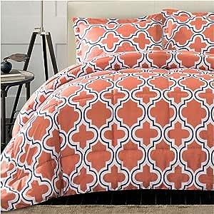 Superior 现代几何格子被子套装带枕套