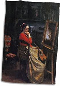 3drose BLN 音乐 featured IN FINE ART 系列 – THE Studio YOUNG WOMAN with A 曼陀林 BY JEAN baptiste camille corot – 毛巾