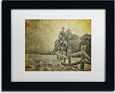 Trademark Fine Art Oh Christmas Tree in Snow Artwork by Lois Bryan, 11 by 14-Inch, White Matte with Black Frame