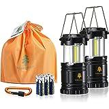 Forester+ 露营灯(2件装),超亮 COB LED,非常适合露营、远足、求生套装、应急灯、停电和节日礼物(6 x AA 电池)