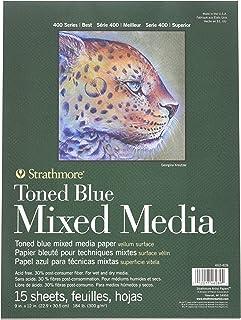"Strathmore 400 系列 Toned Blue 混合介质垫,胶水绑定,每张 15 张 钢蓝色 6"" x 8"" 462-409"