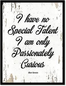 I HAVE NO 特殊 TALENT I AM 仅 passionately 好奇 Albert Einstein 名言谚语帆布印刷带画框家居装饰墙壁艺术礼品创意