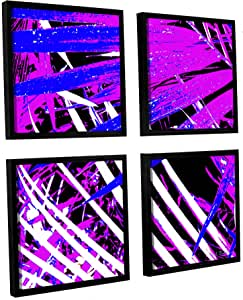 """ArtWall 4 Piece Herb Dickinson's Palms Away IV Floater Framed Canvas Square Set, 36 x 36"""""""
